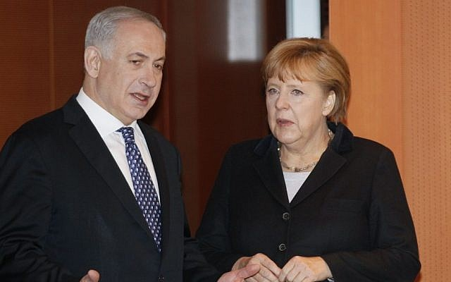 German Chancellor Angela Merkel, right, and Prime Minister Benjamin Netanyahu,  at the Chancellery in Berlin (AP/Wolfgang Rattayl)