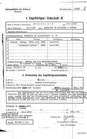 """A copy of a World War II-era record of Johann """"Hans"""" Breyer's employment as an Auschwitz camp guard. (photo credit: AP/U.S. Department of Justice)"""