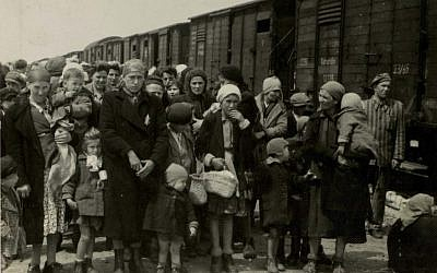 Jewish women and children deported from Hungary, separated from the men, line up for selection on the platform at Auschwitz camp in Birkenau, Poland, in 1944 (photo credit: AP/Yad Vashem Photo Archives)
