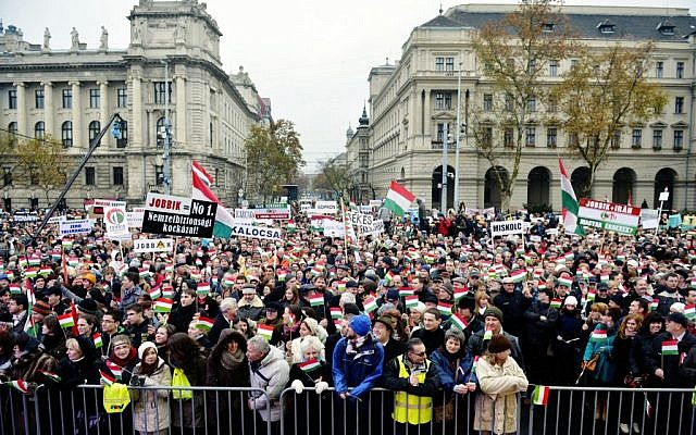 Thousands of people attend a protest called Mass Demonstration Against Nazism, in front of the Parliament building in Budapest, Hungary, Sunday, Dec. 2 (photo credit: AP/MTI, Laszlo Beliczay)