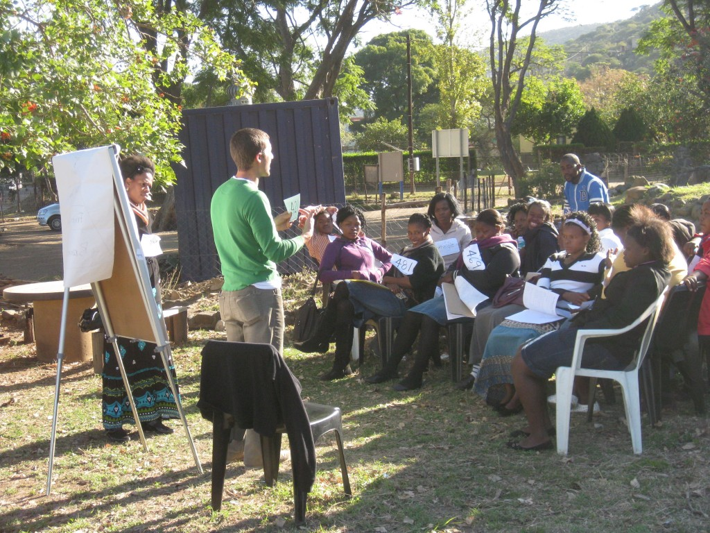 A double-major at Yale, Carel conducts an HIV/AIDS education program in South Africa. (Courtesy of David Carel)