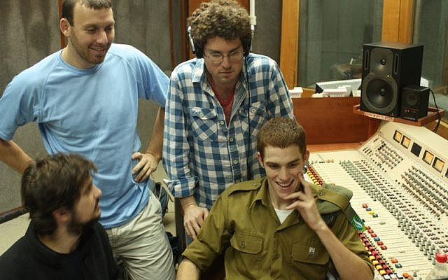 Three of the 'Israel Story' tellers with a Galei Tzahal producer (Courtesy Israel Story)
