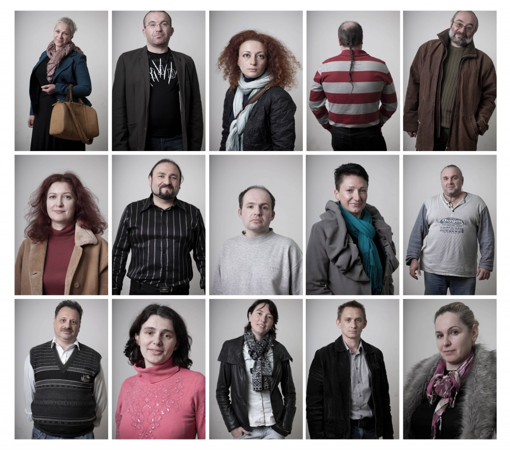 In this combination of fifteen photos all taken on Dec. 24, 2012, Russian-speaking Israelis who immigrated from the former Soviet Union, and who are competing in a Russian-language trivia contest in Tel Aviv, pose for portraits. (photo credit: AP Photo/Oded Balilty)