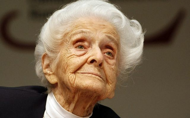 In this photo from files, taken on April 18, 2009, Italian neurologist and senator for life Rita Levi Montalcini, Nobel Prize winner for Medicine in 1986, is seen at a press conference for her one hundredth birthday, in Rome (photo credit: AP/Riccardo De Luca)