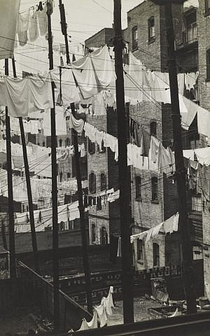 "Like many Photo League images, Consuelo Kanaga's 1937 ""Untitled (Tenements, New York)"" captures the poverty and daily struggles of the Great Depression. (Courtesy of the Contemporary Jewish Museum)"