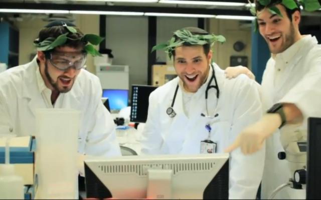 "The Maccabeats celebrate a bone-marrow match in the video for ""Shine."" (YouTube screenshot)"
