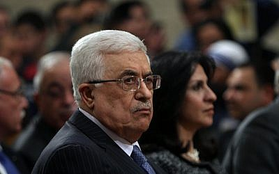 Mahmoud Abbas at the Church of the Nativity, Christmas Eve 2012 (photo credit: AP/Abed Al Hashlamoun)