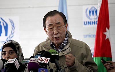 United Nations Secretary-General Ban Ki-moon speaks to reporters at the Zaatari Syrian refugee camp, in Mafraq, Jordan, last December (photo credit: AP/Mohammad Hannon)
