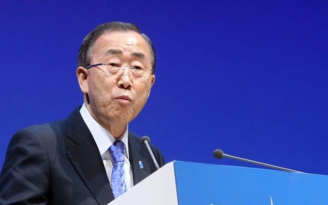 UN Secretary-General Ban Ki-moon (photo credit: AP/Osama Faisal)