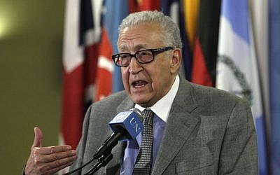 Lakhdar Brahimi at the UN, November 2012 (photo credit: AP/Richard Drew)