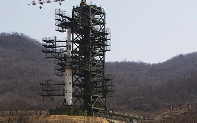 North Korea's Unha-3 rocket stands at Sohae Satellite Station in Tongchang-ri, North Korea. (photo credit: AP Photo/David Guttenfelder, File)
