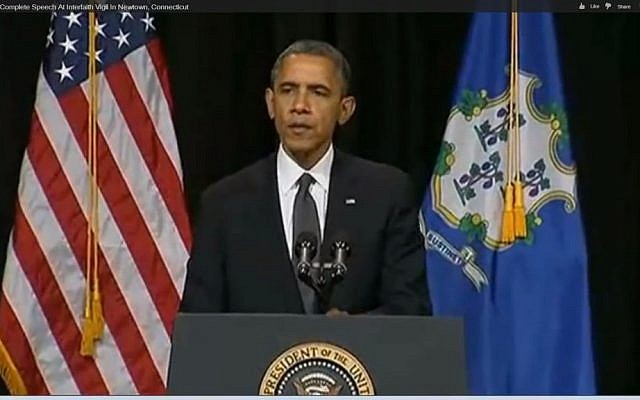President Barack Obama speaks in Newtown, December 16 (photo credit: YouTube screenshot)