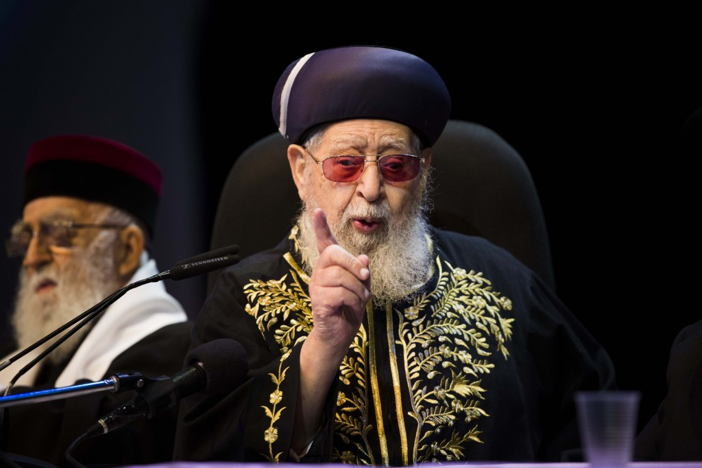 Amsalem was repudiated by the leader who had once been his patron, Rabbi Ovadia Yosef, seen here on Nov. 3, 2012 (Photo by Yonatan Sindel/Flash90)