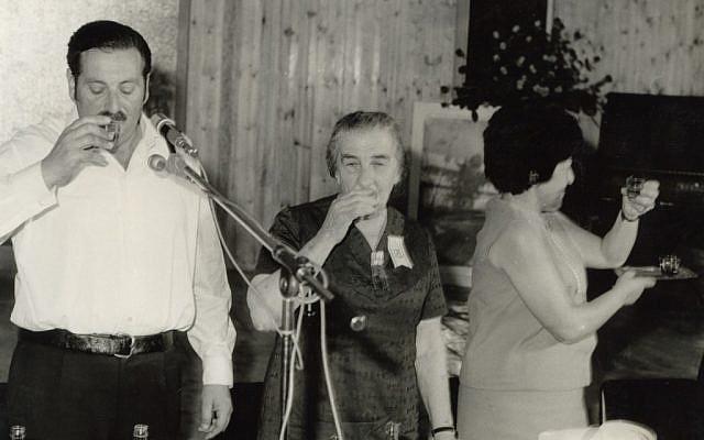 Former prime minister Golda Meir visits Kiryat Gat in 1970 (photo credit: Lehava Center Qiryat Gat via the PikiWiki - Israel free image collection project)