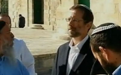 Likud MK Moshe Feiglin (in black jacket, second from right) on the Temple Mount in December 2012 (photo credit: screen capture/Channel 10)