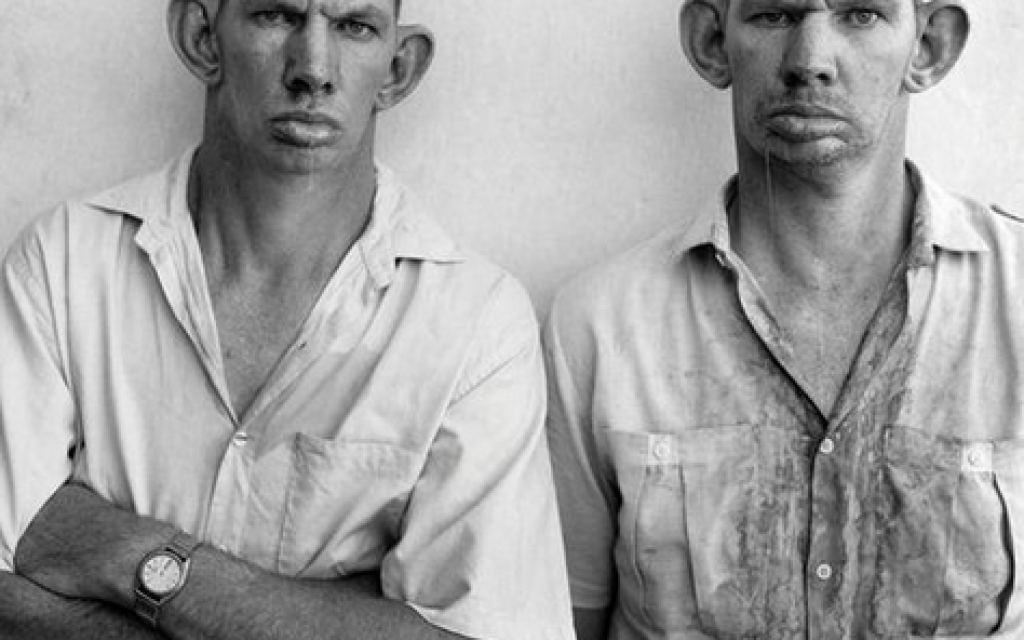 Roger Ballen, Dresie and Casie, twins, Western Transvaal, 1993, from the series Platteland (photo credit: Publicity/Tel Aviv Museum of Art)