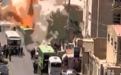 Footage from a video that purportedly shows a bombing carried out by Jabhat al-Nusra in Damascus in August (photo credit: YouTube screen capture)