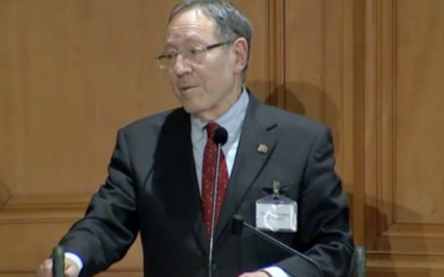 Irwin Cotler speaks in Stockholm (photo credit: Screenshot, courtesy)