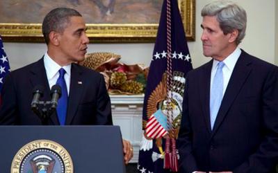 President Barack Obama and John Kerry (photo credit: AP/Carolyn Kaster)