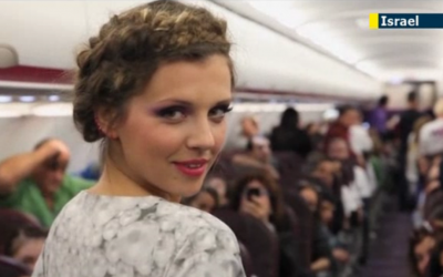 A model for Israeli designer label Frau Blau struts the runway on a Wizz Air flight from Tel Aviv to Budapest this week (photo credit: screenshot from Jewish News One)
