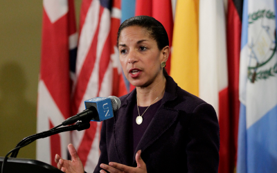 As the American ambassador to the UN, Susan Rice delivered an ardent defense of Israel during the IDF's November operation against Hamas. (Paulo Filgueiras/UN via JTA)