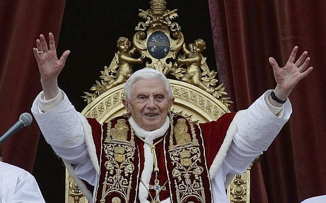 """Pope Benedict XVI delivers his """"Urbi et Orbi"""" (to the City and to the World) speech from the central loggia of St. Peter's Basilica, at the Vatican, on Tuesday, December 25, 2012. (photo credit: AP Photo/Gregorio Borgia)"""