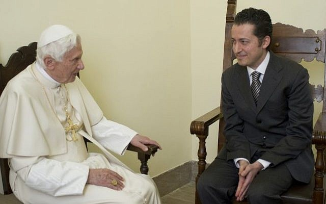 Former pope's butler Paolo Gabriele is received in a private audience by Pope Benedict XVI, at the Vatican, in December 2012 (photo credit: AP Photo/L'Osservatore Romano)