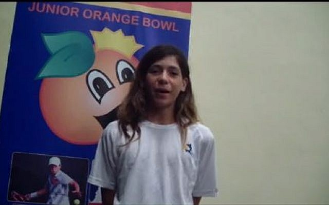 Yishai Oliel, in a pre-tournament interview at the Junior Orange Bowl championships (photo credit: YouTube screen shot)