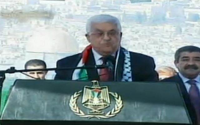 Mahmoud Abbas speaking in Ramallah Sunday. (photo credit: Screenshot/Palestine TV)