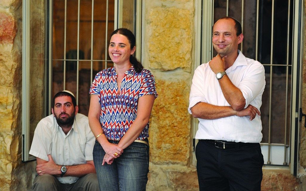 "Ayelet Shaked, center, with Jewish Home leader Naftali Bennett, right. Shaked, who is not Orthodox, says her views are ""identical to those of religious Zionism"" (photo credit: Courtesy of Jewish Home/Ayelet Shaked)"