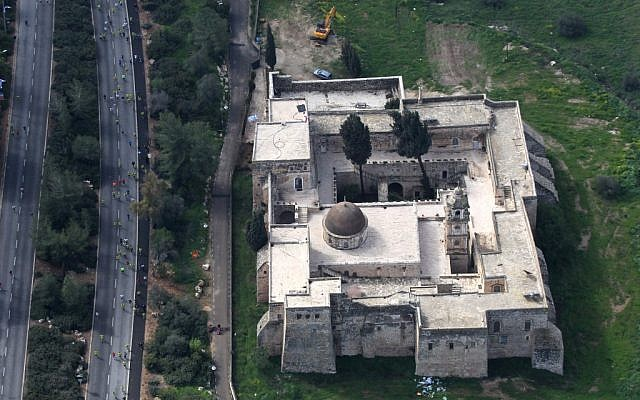 Bird's-eye view of the Monastery of the Cross, in the Valley of the Cross in Jerusalem. The monastery was built in the 11th century and is currently occupied by monks of the Jerusalem Patriarchate (photo credit: Nati Shohat/Flash90)