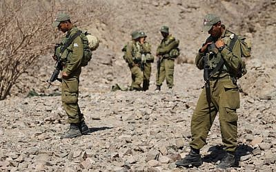 Soldiers patrolling the area north of Eilat after a terror attack in 2011. (photo credit: Nati Shohat/Flash90)