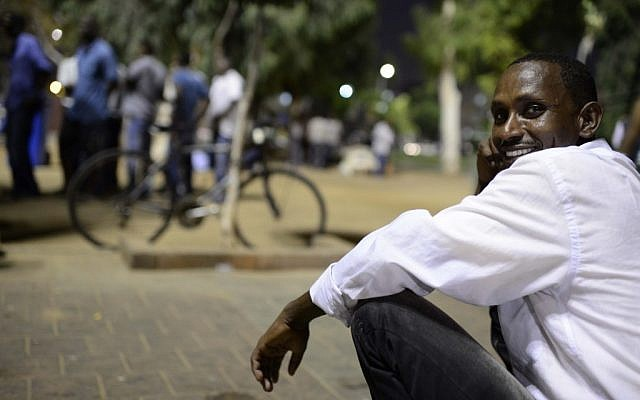 An African migrant in Levinsky Park in southern Tel Aviv (photo credit: Tomer Neuberg/Flash90)
