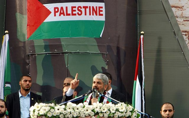 Hamas leader Khaled Mashaal delivers a speech during a rally to mark the 25th anniversary of the founding of the Islamist movement, in Gaza City on Saturday, December 8, 2012 (photo credit: Abed Rahim Khatib/Flash90)