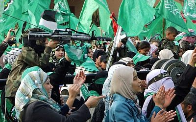 Women celebrate Hamas's anniversary in Gaza, December 8, 2012 (photo credit: Flash90/Abed Rahim Khatib)