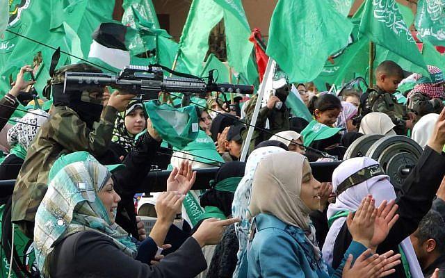 Women celebrate Hamas's anniversary in Gaza, December 8, 2012 (photo credit: Flash90/Abed Rahim Khatib)