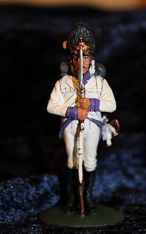 A figurine at the museum shows a traditional Austro-Hungarian uniform, including a hat with a brass front-plate (Courtesy of the U. Nahon Museum of Italian Jewish Art)