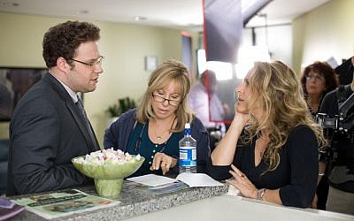 "Director Anne Fletcher, right, works with Seth Rogen and Barbra Streisand  on the set of ""The Guilt Trip."" (Courtesy of Paramount Pictures)"