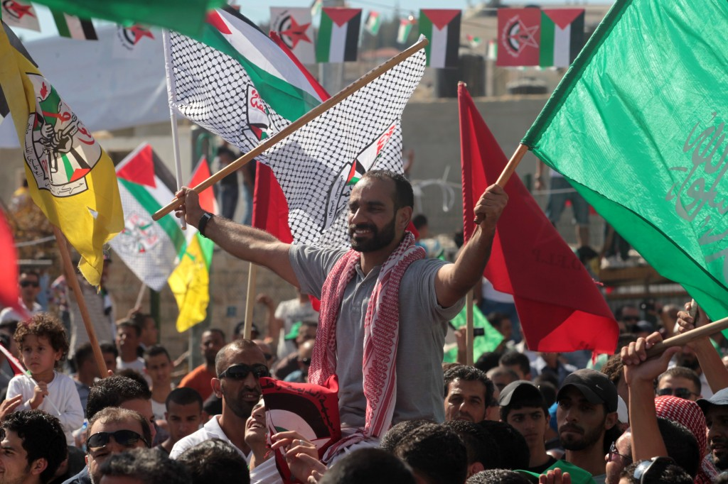 Palestinians celebrate the release of prisoners in return for Israeli tank crewman Gilad Schalit in October, 2011. Stern's was a lonely voice opposing the deal (Kobi Gideon / Flash90)