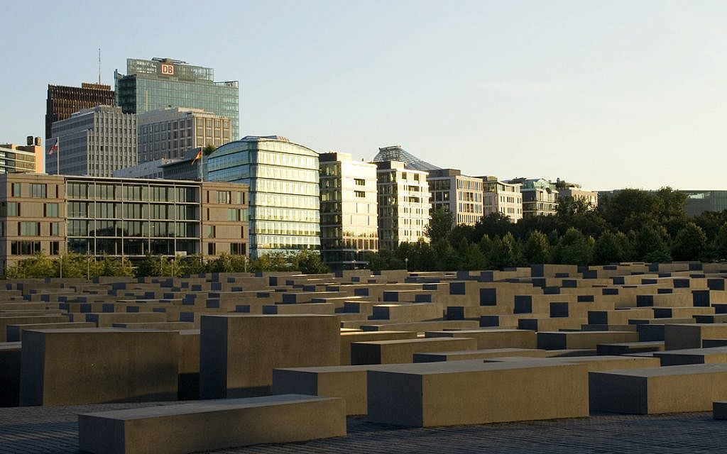 The main Holocaust memorial in Berlin features an above-ground, abstract monument resembling tombstones. (Plano Light/Creative Commons via JTA)