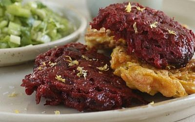 Freshly fried ginger and beet latkes with celery cilantro salsa (photo credit: Dania Weiner)