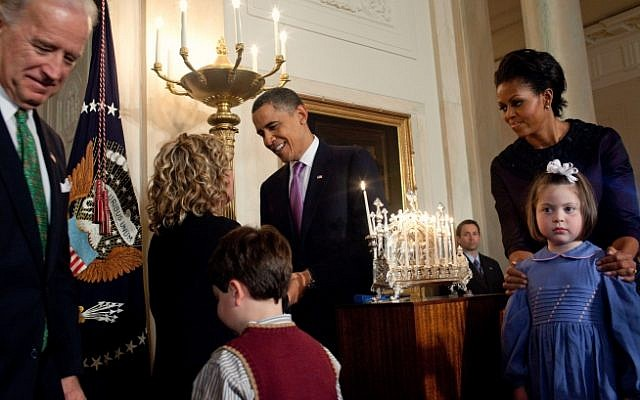 The Obamas light a menorah for Hanukkah 2009 (photo credit: whitehouse.gov)