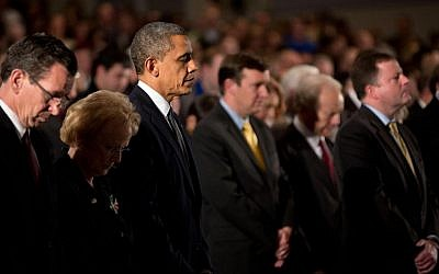 President Obama honors victims of Friday's school massacre at an interfaith vigil in Newtown, Conn. (Pete Souza/White House via JTA)