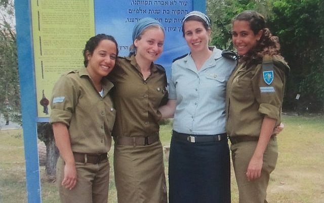 Cap. Ravit Noy, second from right, at the Tel Hashomer base where she serves (Photo credit: Courtesy: IDF Spokesperson's Office)