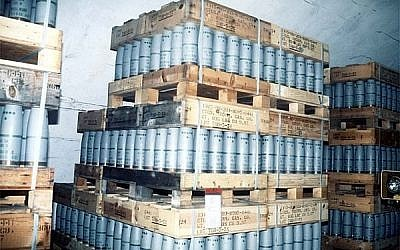 Sarin gas in 105 mm artillery shells being stored at a US site (illustrative photo: Courtesy)