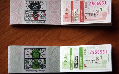 Minorities and advocacy groups in the Polish city of Lublin have objected to the way African immigrants and Jews were depicted on tickets for public transportation. (Courtesy of the Municipality of Lublin)