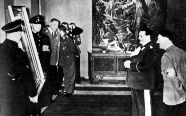 Hitler and Goering inspecting confiscated works of art (photo credit: courtesy  Yad Vashem)
