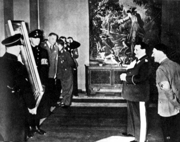 Hitler and Goering inspecting confiscated works of art. (photo credit: courtesy Yad Vashem)