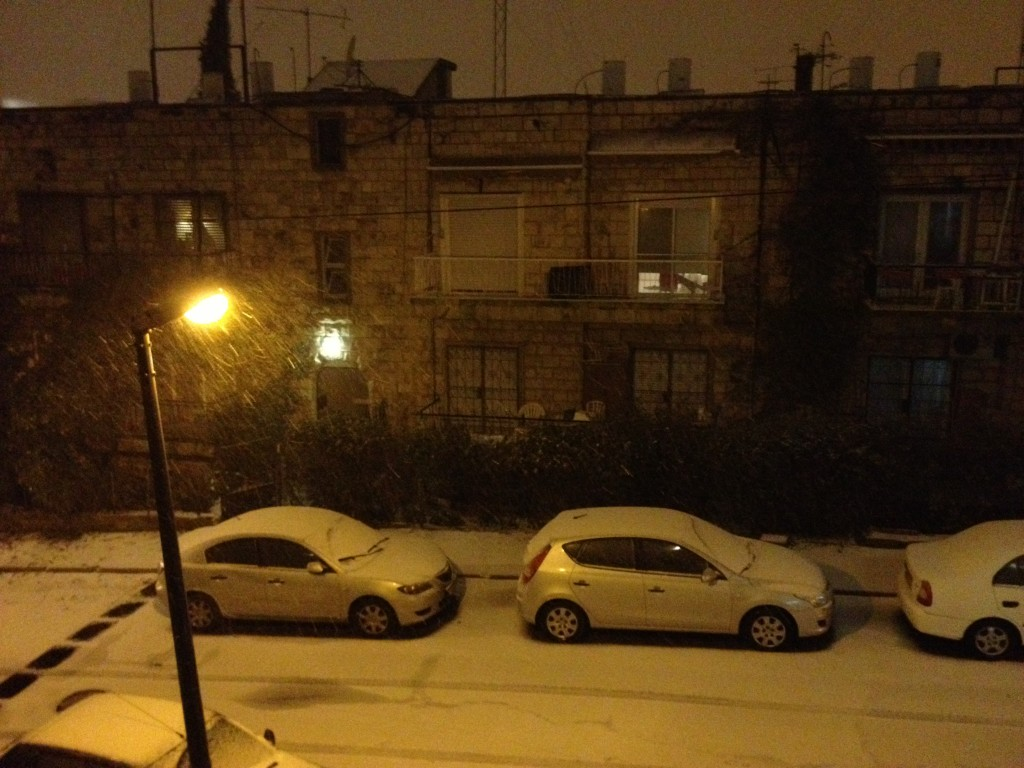 Snow in Jerusalem on Wednesday night (photo credit: Elhanan Miller/Times of Israel)