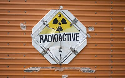 Illustrative photo of a nuclear material sign (photo credit: Flickr/bburky CC BY-SA 2.0)